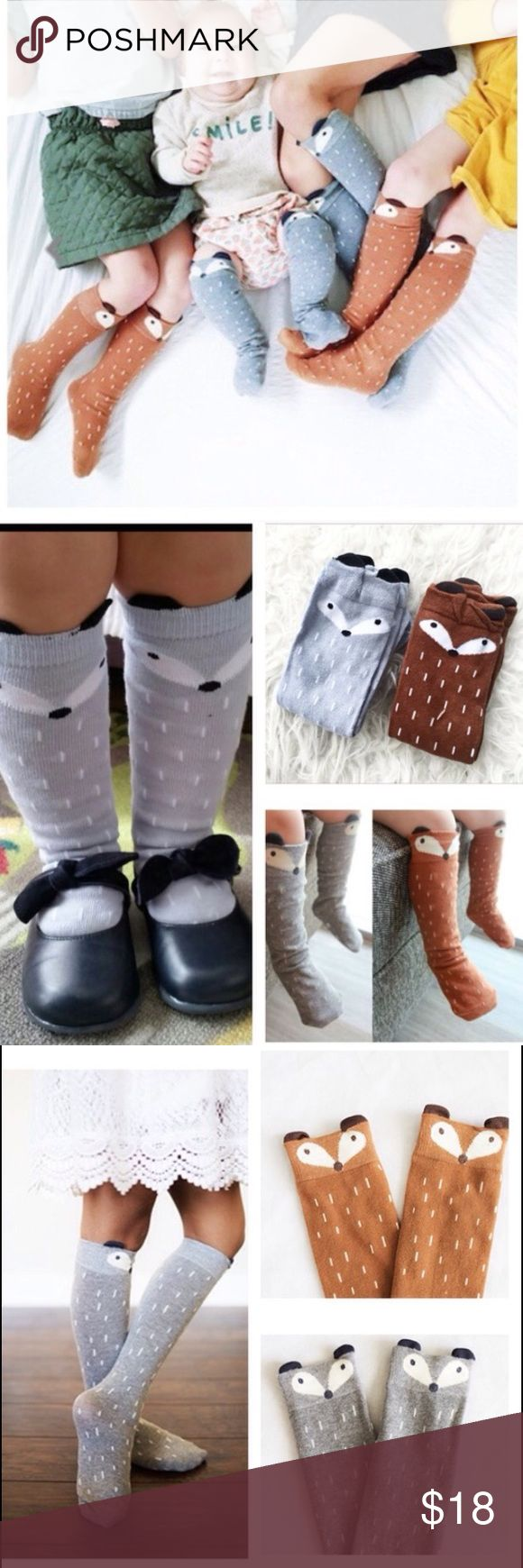 Fox Socks Knee High Baby Toddler Brand new! Includes TWO pair of fox socks, one gray and one brown. Ships same day if ordered by 10:00 CST. Bundle 3 items and save 15% Accessories Socks & Tights