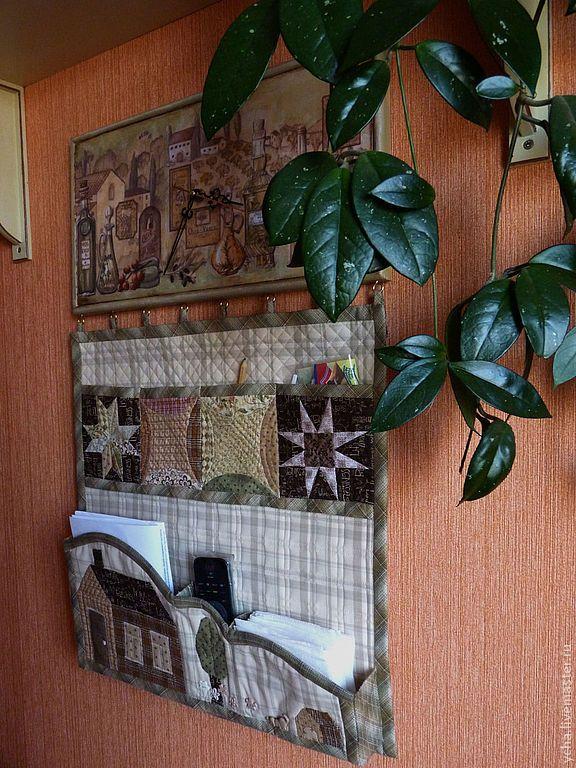 Купить Текстильное панно с часами - панно на кухню, часы настенные, часы для кухни, кармашки на кухню