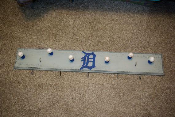Detroit Tigers Hat Rack, Gray and Navy, Baseball Hat Rack, Baseball Knobs