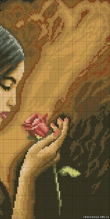 Rosas en el pelo y en la mano 2