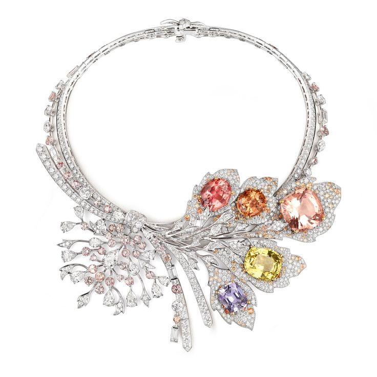 Chaumet Rhapsodie Transatlantique necklace with a chrysoberyl, an Imperial topaz,a morganite, a pink tourmaline and a tanzanite. http://www.thejewelleryeditor.com/jewellery/article/chaumet-est-une-fete-high-jewellery-review/ #jewelry