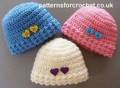 Libre de ganchillo bebé del sombrero de la gorrita tejida patrón bebé prematuro EE.UU.