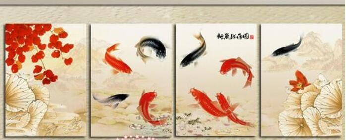 Ucuz Modern Duvar Sanatı Ev Dekorasyon Yağlıboya Resim 4 Panel Soyut Siyah Kırmızı Koi Balık Yüzme Tuval, Satın Kalite resim ve hat sanatı doğrudan Çin Tedarikçilerden: Modern Duvar Sanatı Ev Dekorasyon Yağlıboya Resim 4 Panel Soyut Siyah Kırmızı Koi Balık Yüzme Tuval