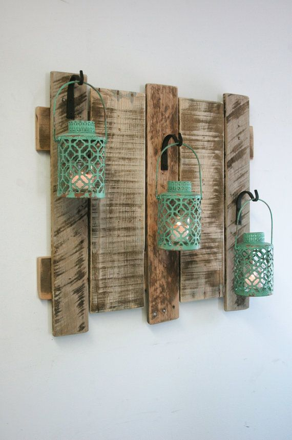 Pallet wall decor with Antique Turquoise Metal Lanterns, shabby chic decor,  home decor, cabin decor, large wood decor, large wood wall decor