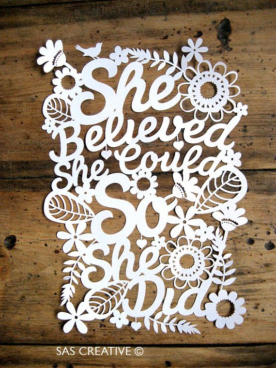 Papercut Template PDF 'She Believed She Could So She Did' Printable Cut Your Own Papercut by Samantha's Papercuts