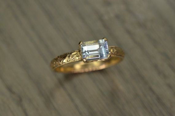 Aquamarine Gold Ring emerald cut 14k solid gold 14k by EdwardOwl, $368.00