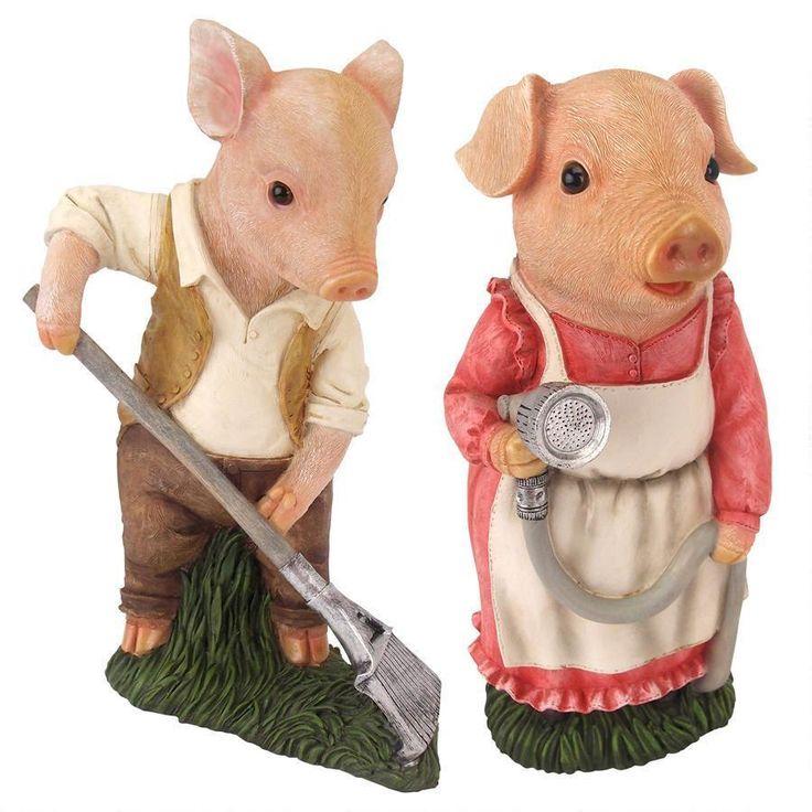 Mama and Papa Pig Gardener Statues