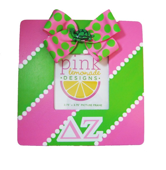 DZ Delta Zeta Turtle Pink and Green Picture Frame by APinkLemonadeDesigns, $18.00