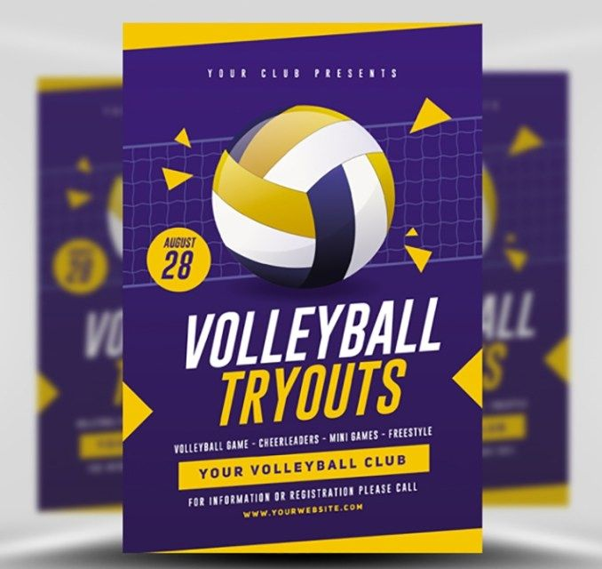 Volleyball Tryouts Flyer Template Flyerheroes In 2020 Volleyball Posters Volleyball Tryouts Flyer