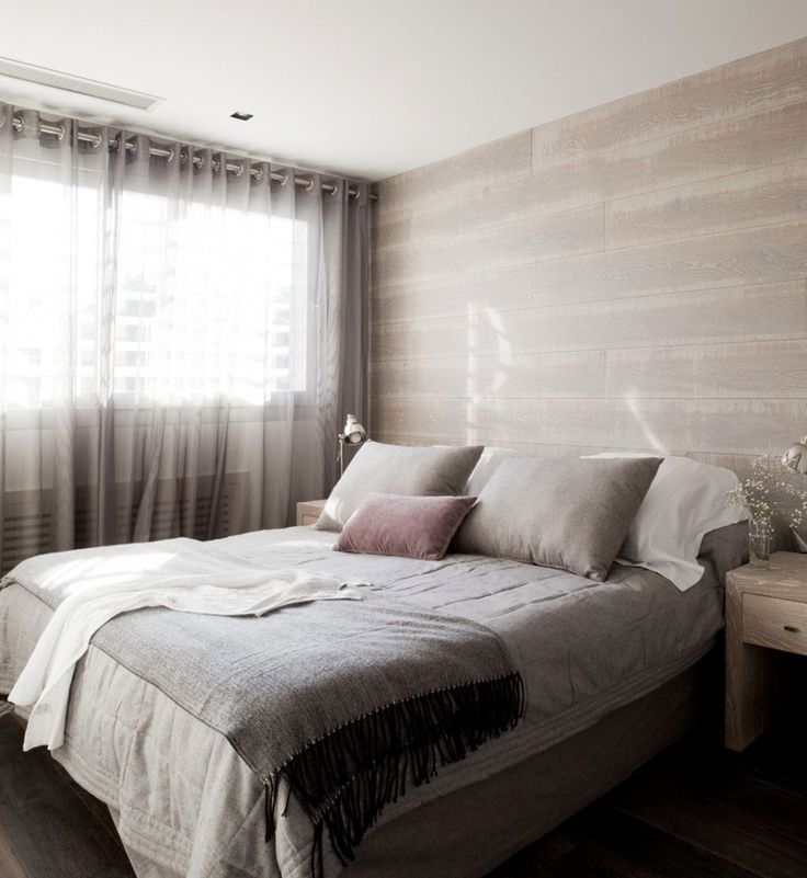 soft subtle colours and rustic wood - contemporary bedroom