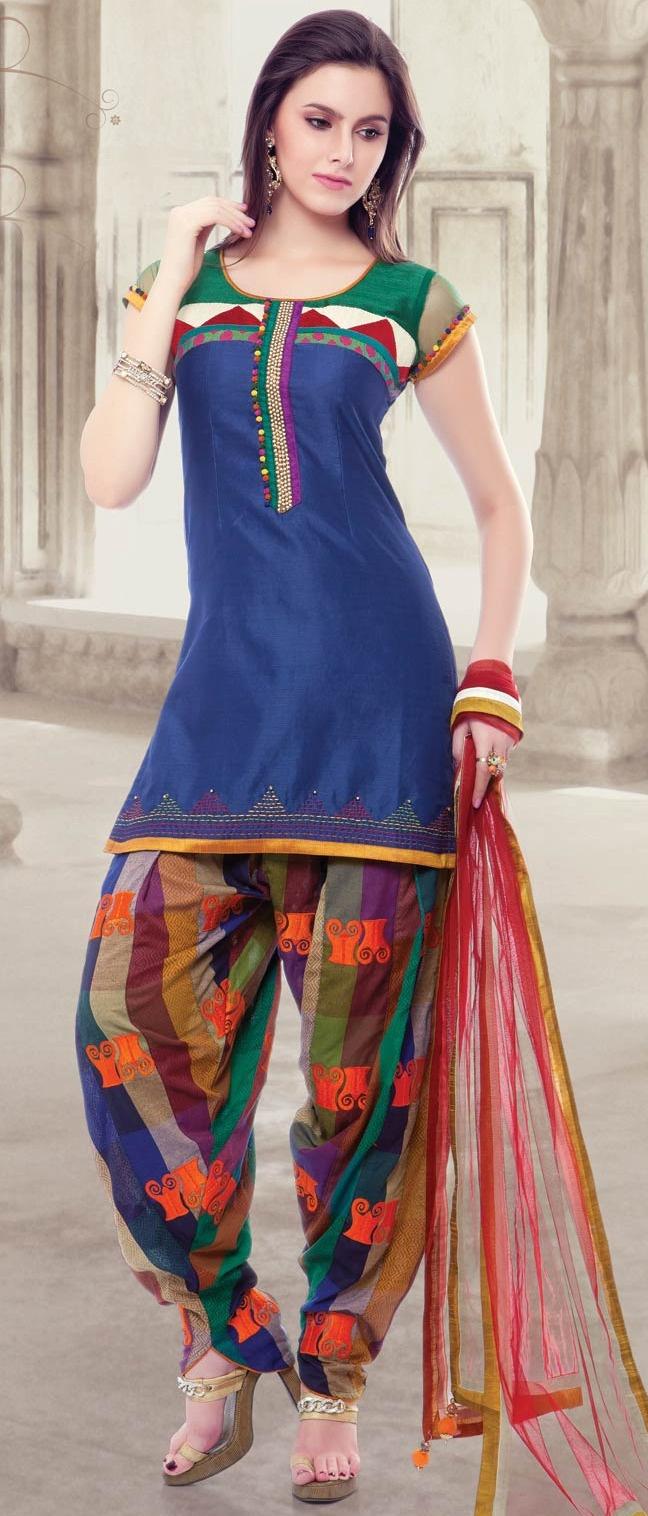 Royal #Blue #Cotton Readymade Patiala Suit @ $125.00 | Shop @   http://www.utsavfashion.com/store/sarees-large.aspx?icode=kgf3753
