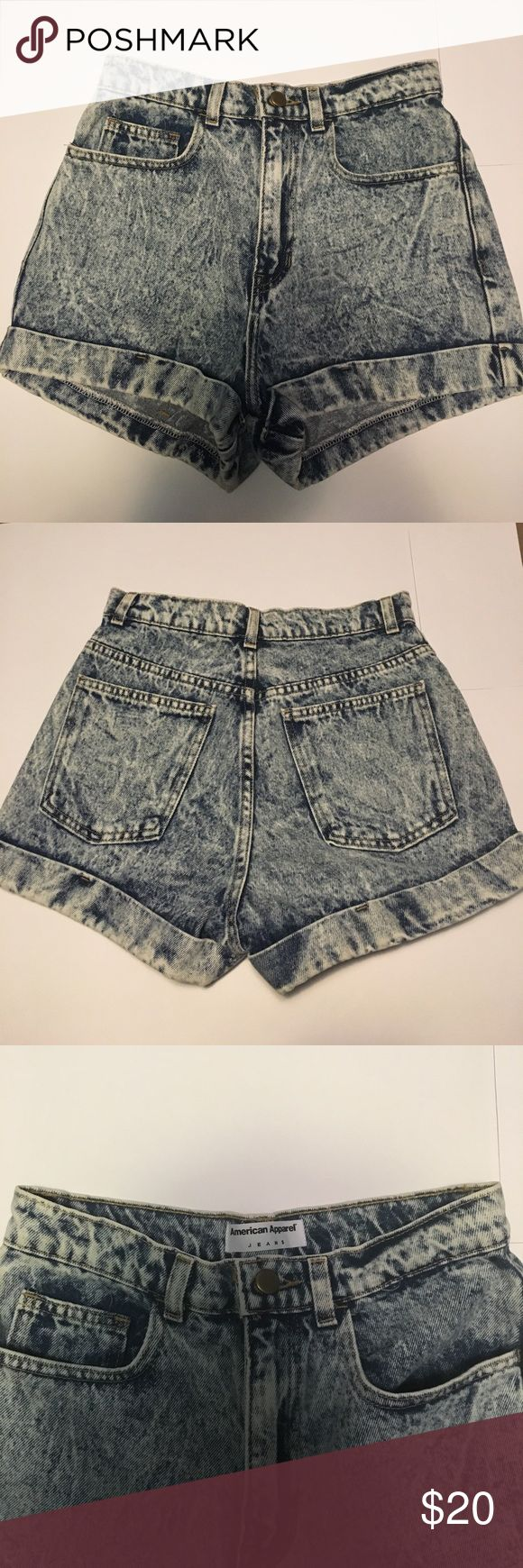 American Apparel High Waisted Acid Wash Shorts Blue acid wash (looks like the first 2 pictures), great quality shorts, very high waisted and cuffed, new condition, never been worn, perfect with crop tops for the summer American Apparel Shorts Jean Shorts