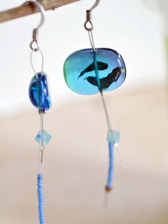 Orecchini pendenti in vetro colore acquamarino 925 argento