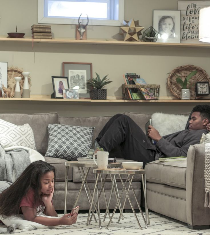 Cozy basement family room reveal with Raymour & Flanigan