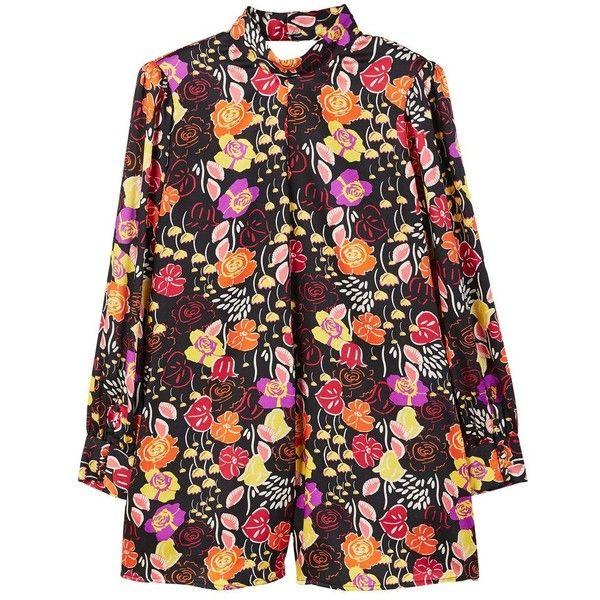 Floral Short Jumpsuit ($41) ❤ liked on Polyvore featuring jumpsuits, black, flower print jumpsuit, mango jumpsuit, jump suit, floral jumpsuits and short jumpsuits