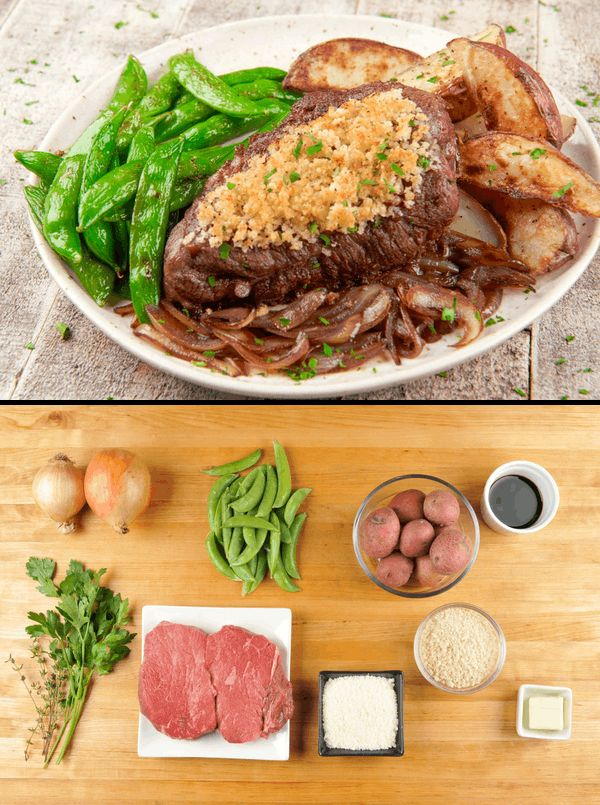 Feeling fancy tonight? We make it easy to cook like a five star chef with the building blocks of a delicious dinner; a crusty, umami-rich Parmesan and panko crust crowns perfectly seared sirloin steak. It's then nestled in a bed of creamy potatoes, charred snap peas, and savory balsamic onions. You pulled out all the stops, so enjoy every last bite.