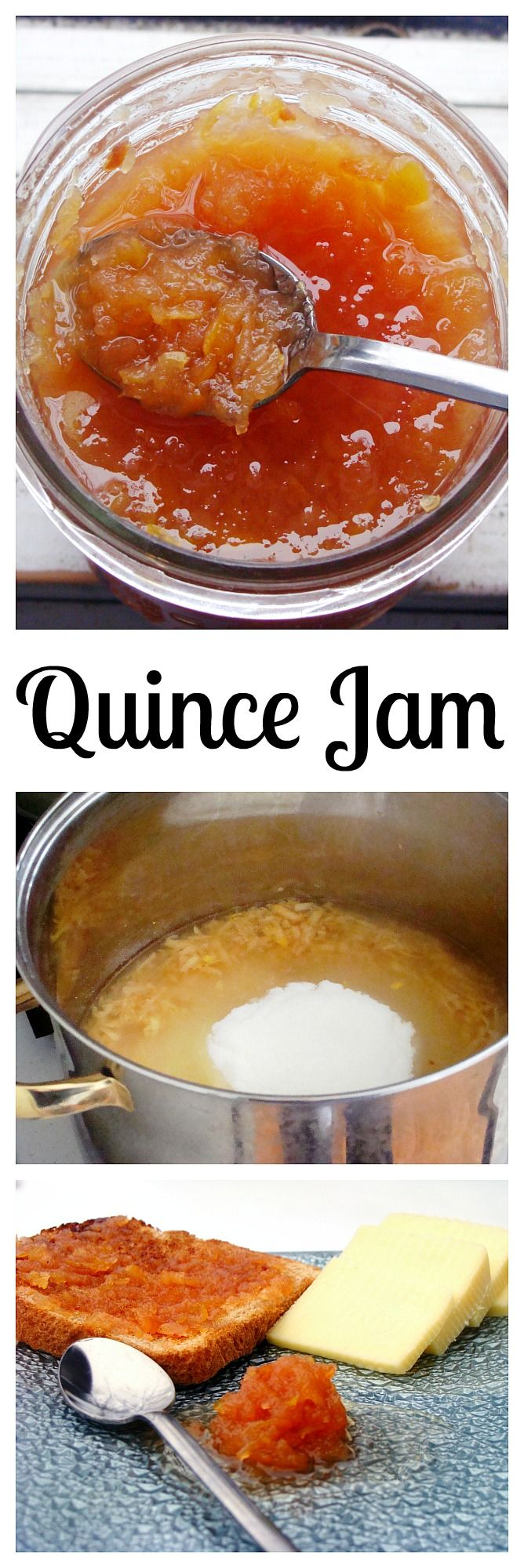Quince Jam -  With quince, sugar, and a little lemon juice, this jam is SO delicious and it's very easy to make!