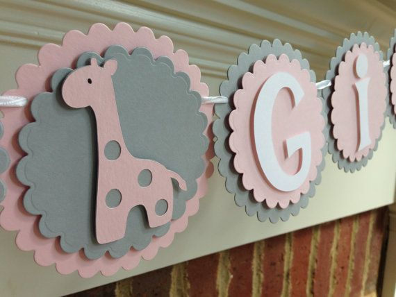 Giraffe BABY SHOWER Banner or NAME Pink & by OnceUponATwineDesign