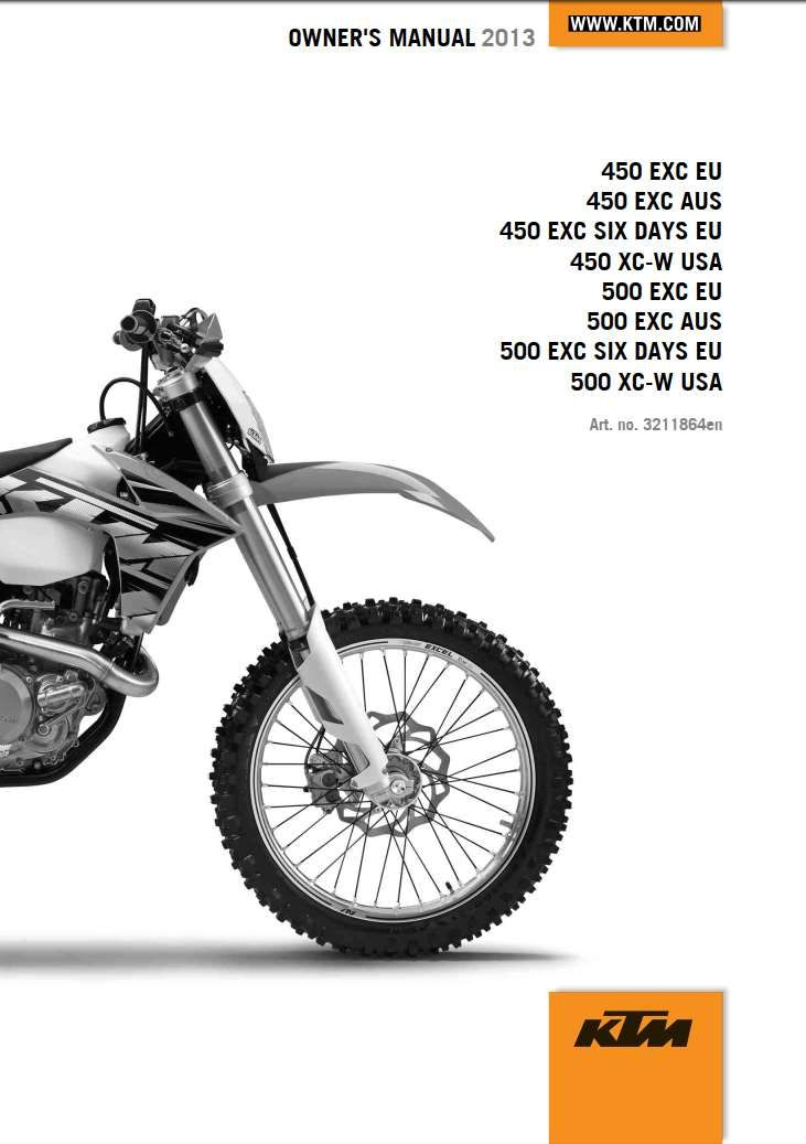 Ktm 450 Universal 2013 Owner S Manual Has Been Published On Procarmanuals Com Https Procarmanuals Com Ktm 450 Universal 2013 O Repair Manuals Ktm Ktm 250 Exc