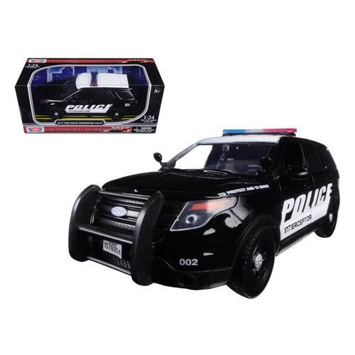 2015 Ford Interceptor Police Car Black/White 1/24 Diecast Model Car by Motormax