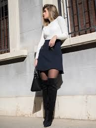 Image result for thigh high boots with black pantyhose