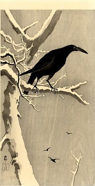 Crow on a Snowy Branch - Ohara Koson