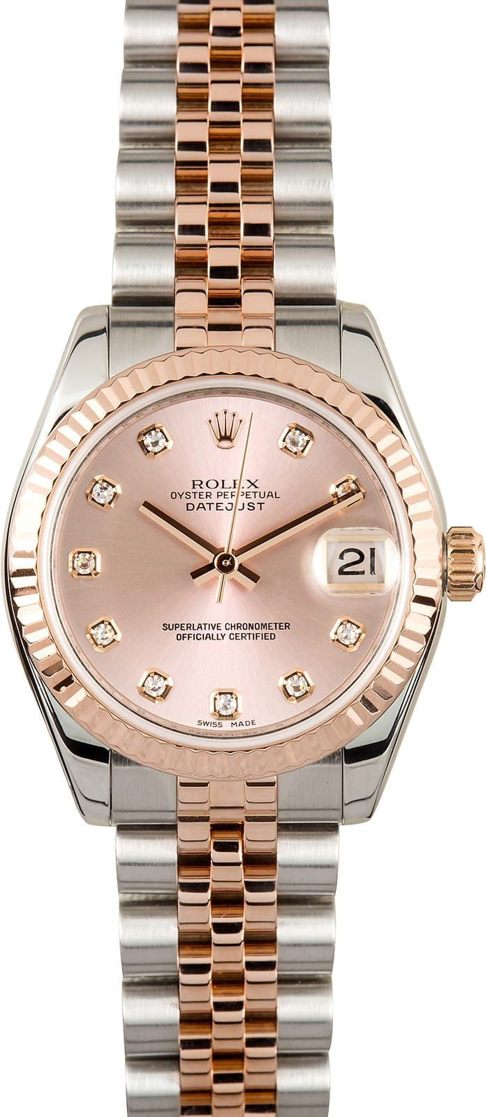 Manufacturer: Rolex   Model Name/Number: Ladies Datejust 178271   Serial/Year: M 2007/2008   Grade: (What's This?) II   Gender: Ladies   Features: Automatic movement w/ date, Quickset, scratch-resistant sapphire crystal, waterproof screw-down crown   Case: Stainless steel w/ 18k Everose gold fluted bezel (31mm), inner reflector ring engraved w/ serial number   Dial: Pink w/ diamond hour markers   Bracelet: Stainless steel and 18k Everose gold Jubilee   Box & Papers: Original