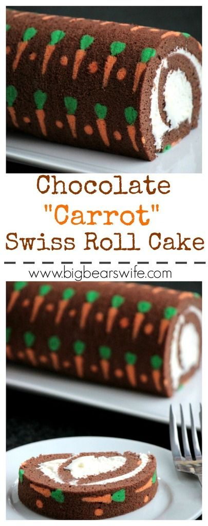 Chocolate Carrot Swiss Roll Cake #Chocolate #Carrot #SwissRollCake