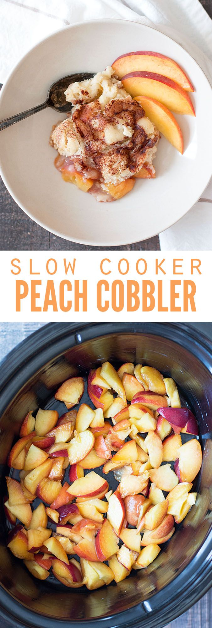 This slow cooker peach cobbler was created after the peach cobbler dump cake, except this version is so much healthier! Using fresh peaches and homemade yellow cake mix, I'm proud to take this to any pot luck! :: DontWastetheCrumbs.com