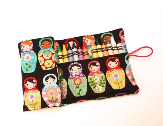 Crayon Roll Matryoshka Dolls Babushka Fabric holds by FrogBlossoms