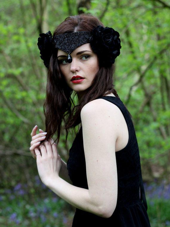 Steampunk - Black swan velvet flower headpiece velvet rose crown bridal beaded headdress by rougepony