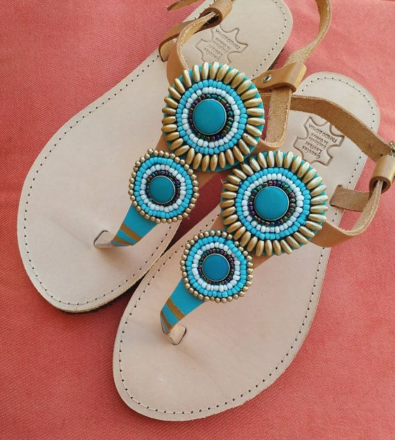 Leather sandals handmade by ZoiO on Etsy