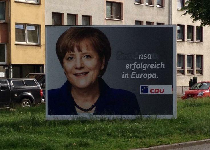 StreetArt : NSA erfolgreich in Europa | Wahlplakat-Bashing in Wuppertal | Atomlabor Wuppertal Blog