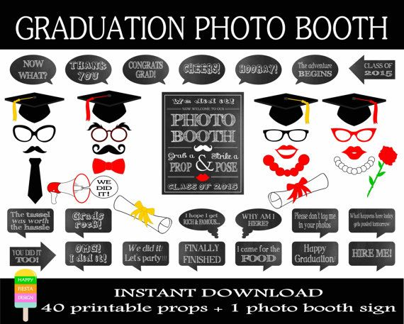 Graduation Photo Booth Props –Set of 41 Pieces: 20 Props, 20 Speech Bubbles, 1 Photo Booth Sign-Class of 2015 Photo Props-Instant Download