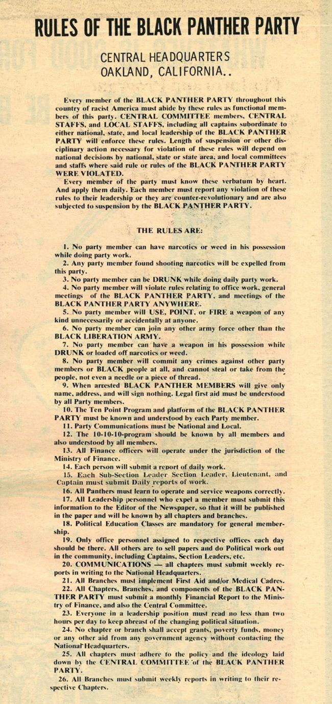 The Rules Huey P. Newton and the Black Panther Party: a picture story