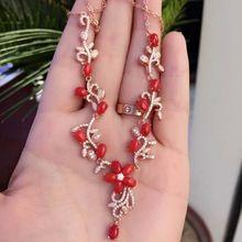 Fidelity natural coral rojo collares pendientes s925 plata rojo natural de piedras preciosas Collares noble joyería fina para las mujeres(China)