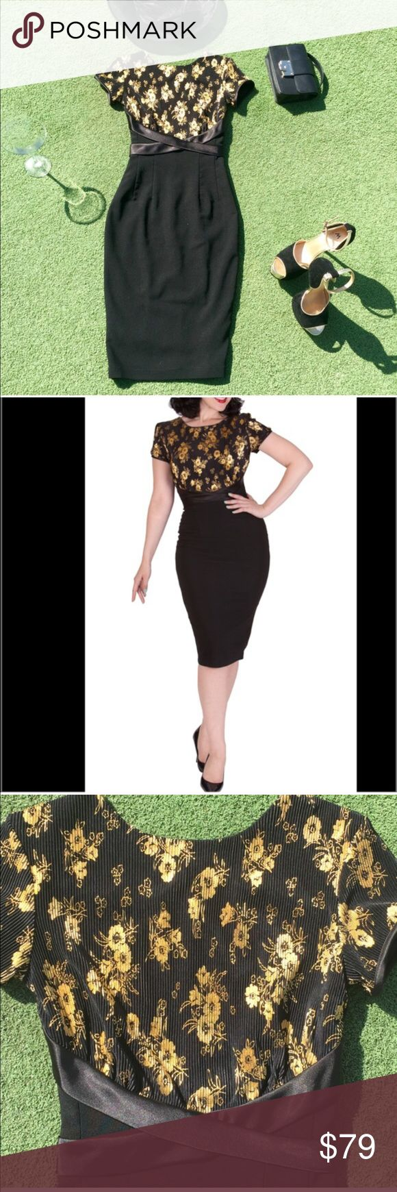 Bettie Page Splendor Black Pencil Dress This is a glamorous Bettie Page Splendor pencil dress by Tatyana. This dress has golden rises on top with a black pencil skirt. The dress has a satin attached waist band with a back bow. Bettie Page Dresses