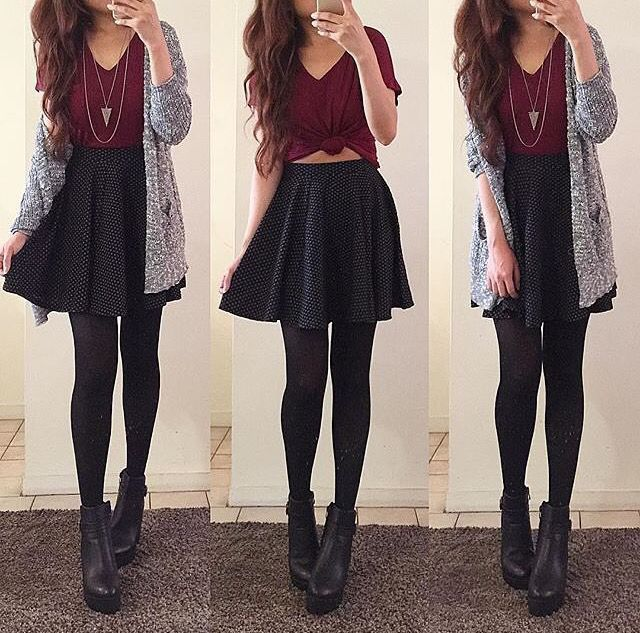 3 outfits with red short sleeve shirt, grey oversized cardigan, black skater skirt, black tights, black wedge heels.