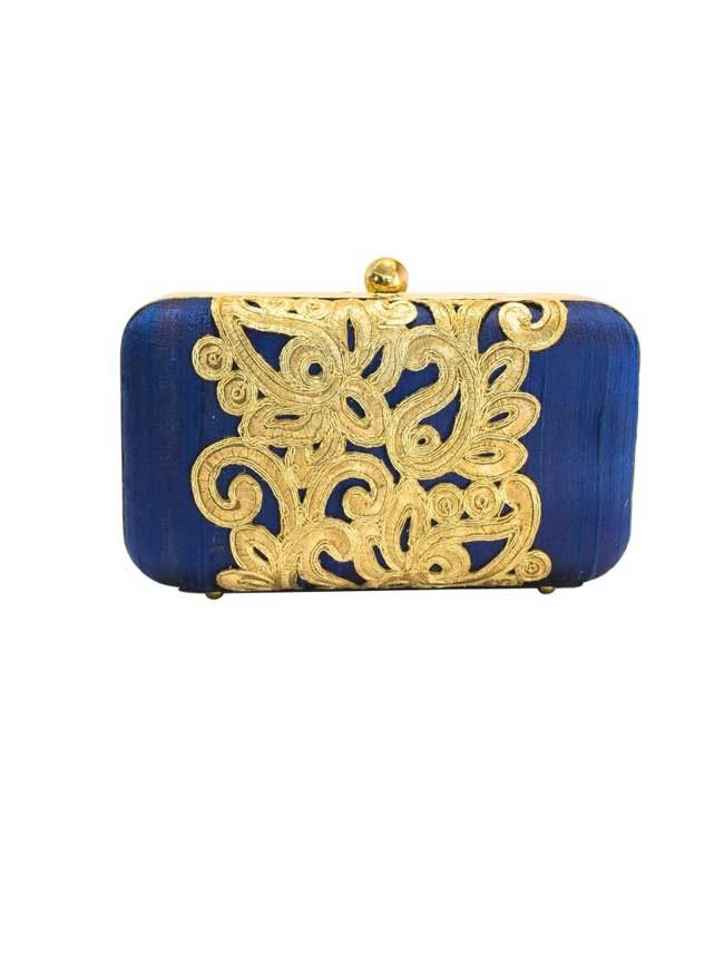 Statement- Blue/Gold - Blue/Gold Embroidered Raw Silk Clutch