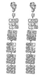 Flashing set of Rhinestone Dangle Earrings with a 5 square dangle design. Earrings are about 2 & 5/16 inches long. Earrings are Silver Plated Brass. Earring backs are barrel type with hypo-allergenic posts.#earrings#long earrings#dangle earrings#bridal earrings#bridal jewelry#bridesmaids jewelry#bridesmaids earrings#rhinestone earrings prom earrings#earrings for prom#wedding earrings#silver earrings