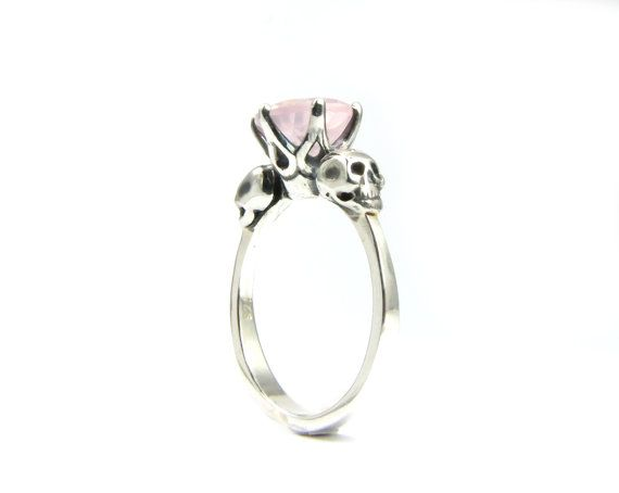 For when we win the lottery, size 10 Skull Wedding Ring Goth Engagement Skull Ring Sterling Rose Quartz Pink Gothic Womens Ring Memento Mori Ring All Sizes