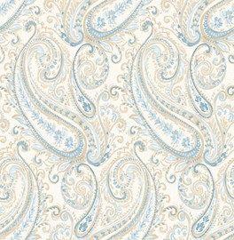 Dutch ;Wallcoverings ;Maison Chic behang  Artikelnummer: 2665-22043  Adviesprijs ;per rol €42,50  Afmetingen 10M lang ;x 52CM breed  Patroon: 53CM  Kleur: créme, beige, ;blauw  Behangplaksel: Perfax roze  Kwaliteit: vliesbehang