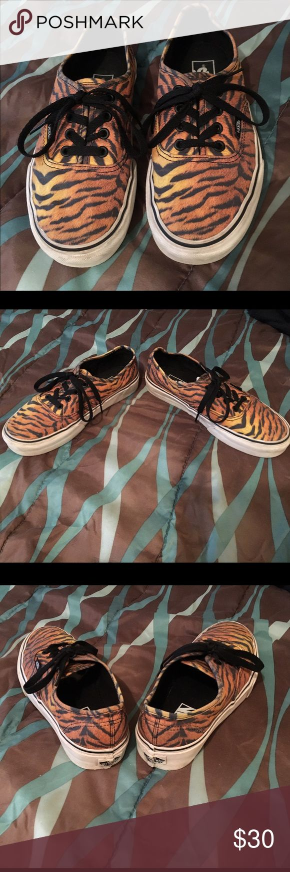 VANS shoes Super cute tiger print VANS! In perfect shape, worn only a couple of times! Love these shoes, but have no outfits that match, so gotta give them up! Can also be worn as size 6 for men! Vans Shoes