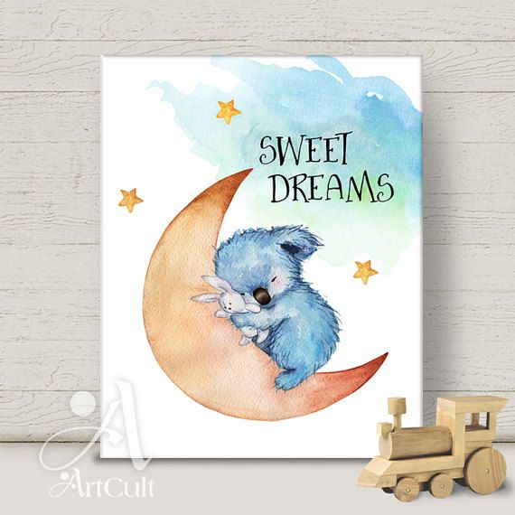 Druckbare Grafik digital Download SWEET DREAMS für Dekoration Print-It-yourself print Poster Baby junge Mädchen Kinderzimmer Wand Kunst ArtCult