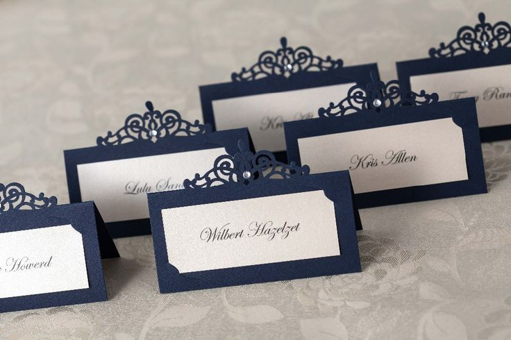 24pcs blue laser cut place cards wedding name cards paper party table decoration