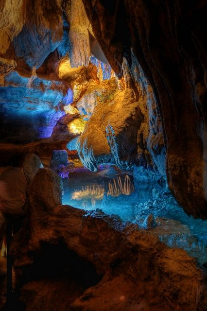 Ruby Falls Cave, Tennessee. Been here. It's beautiful.