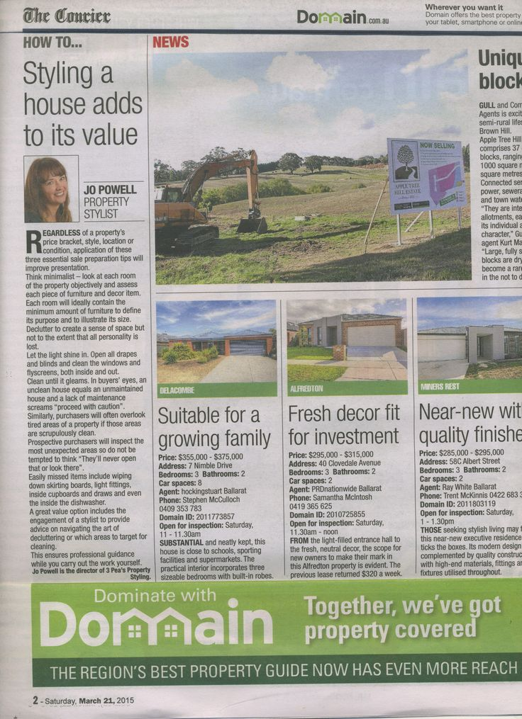 How to...Styling a house adds to its value. Domain.com.au, The Courier, 21 March 2015.