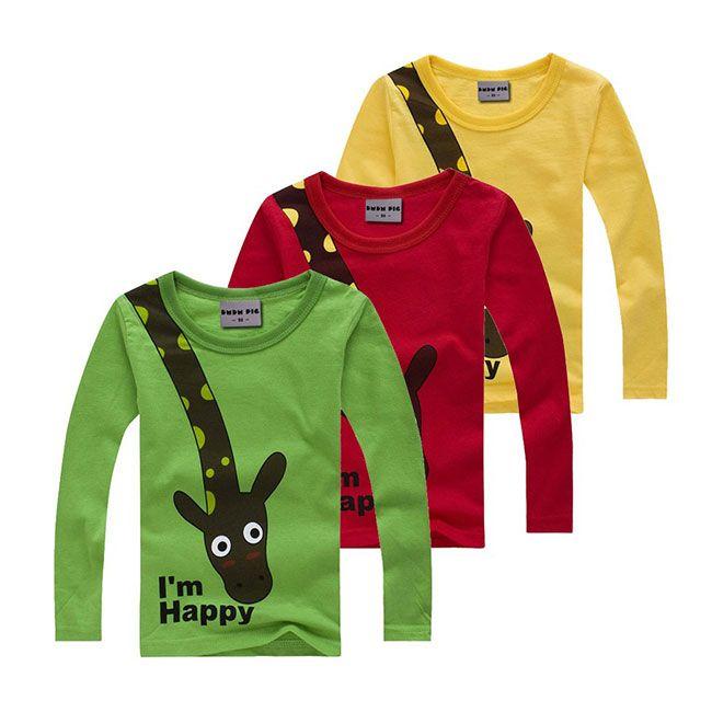 Прикольная детская футболка со счастливым жирафом #ЛОНГСЛИВ #ФУТБОЛКА #ДЕТЯМ #ALIEXPRESS