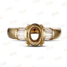 Muhteşem 14k altın 6x8mm Oval Baget 0.41ct elmas nişan Yarı Dağı yüzüğü (Çin (Anakara))