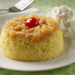 Pineapple Upside Down Mug Cakes ... A speedy pineapple upside down cake recipe prepared in only 10 minutes!